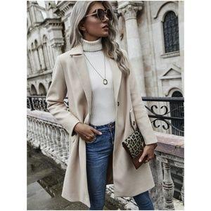 CREAM beige mid length trench pea coat jacket fall